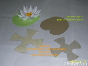 Шаблон «лист» (картон зелёного цвета) Шаблоны «внешний круг» и «внутренний круг»