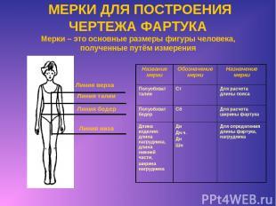МЕРКИ ДЛЯ ПОСТРОЕНИЯ ЧЕРТЕЖА ФАРТУКА Мерки – это основные размеры фигуры человек