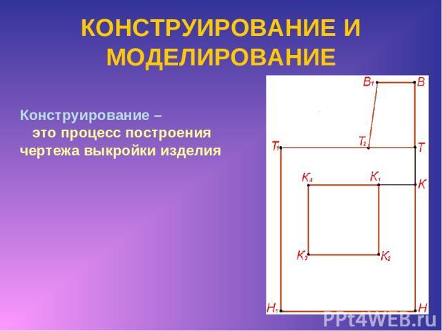 КОНСТРУИРОВАНИЕ И МОДЕЛИРОВАНИЕ Конструирование – это процесс построения чертежа выкройки изделия
