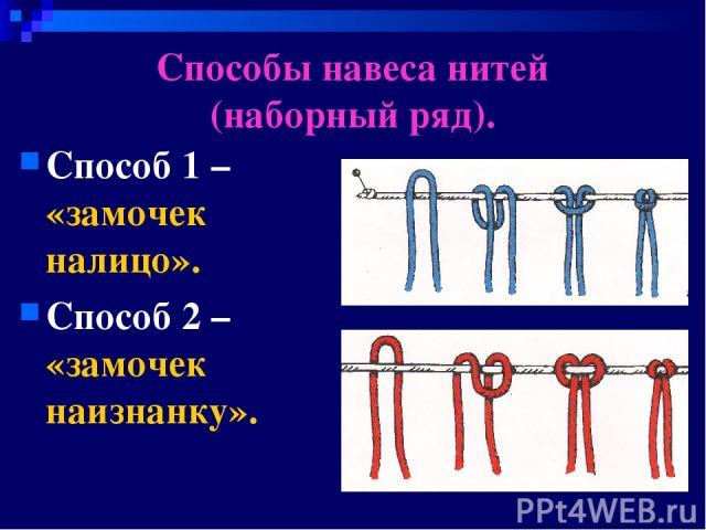 Способы навеса нитей (наборный ряд). Способ 1 – «замочек налицо». Способ 2 – «замочек наизнанку».