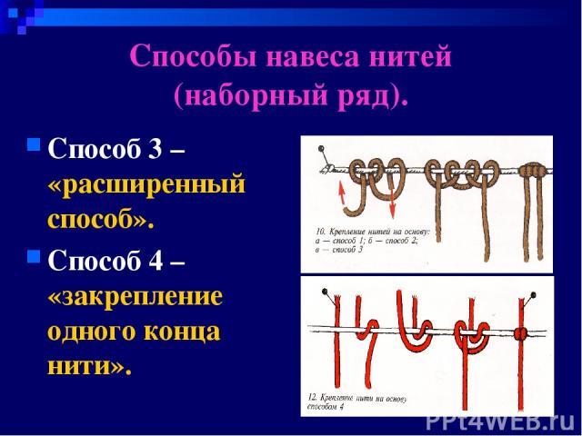 Способы навеса нитей (наборный ряд). Способ 3 – «расширенный способ». Способ 4 – «закрепление одного конца нити».