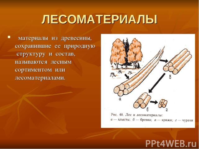 ЛЕСОМАТЕРИАЛЫ материалы из древесины, сохранившие ее природную структуру и состав, называются лесным сортиментом или лесоматериалами.