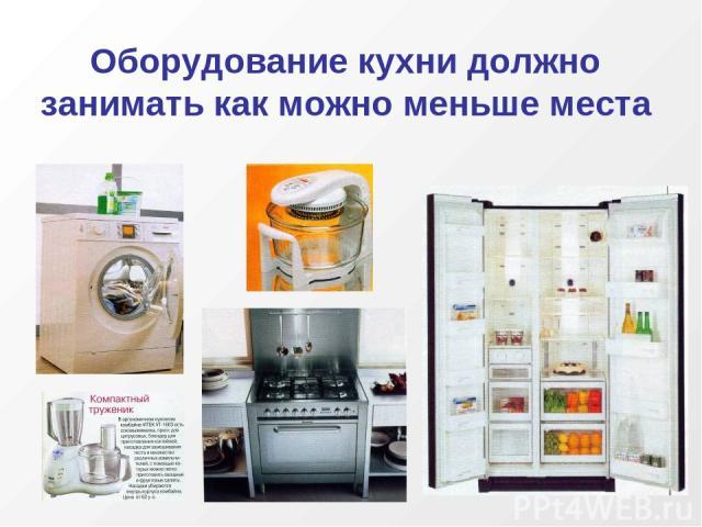 Оборудование кухни должно занимать как можно меньше места