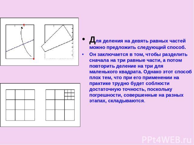 Для деления на девять равных частей можно предложить следующий способ. Он заключается в том, чтобы разделить сначала на три равные части, а потом повторить деление на три для маленького квадрата. Однако этот способ плох тем, что при его применении н…