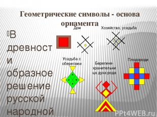 Геометрические символы - основа орнамента В древности образное решение русской н