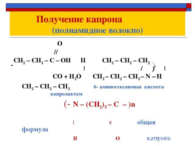 Получение капрона (полиамидное волокно) О // СН2 – СН2 – С – ОН Н СН2 – СН2 – СН2   / →   СО + Н2О СН2 – СН2 – СН2 – N – Н CH2 – СH2 – CH2 6- аминогексановая кислота капролактам (- N – (СН2)5 – С – )n      общая формула H O капрона