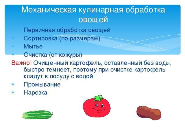 Первичная обработка овощей Сортировка (по размерам) Мытье Очистка (от кожуры) Важно! Очищенный картофель, оставленный без воды, быстро темнеет, поэтому при очистке картофель кладут в посуду с водой. Промывание Нарезка Механическая кулинарная обработ…