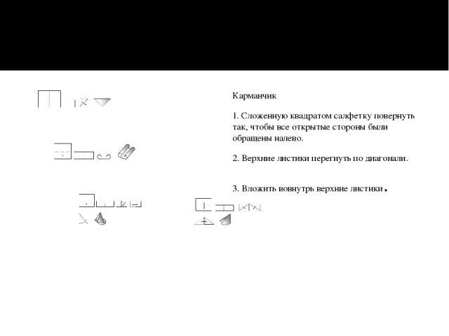 Карманчик 1. Сложенную квадратом салфетку повернуть так, чтобы все открытые стороны были обращены налево. 2. Верхние листики перегнуть по диагонали. 3. Вложить вовнутрь верхние листики.