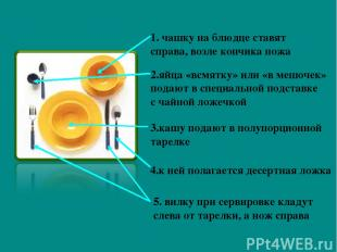 1. чашку на блюдце ставят справа, возле кончика ножа 2.яйца «всмятку» или «в меш