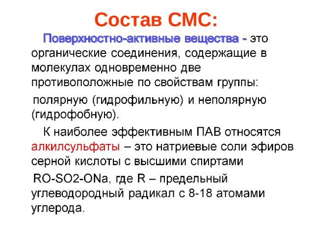 Состав СМС: