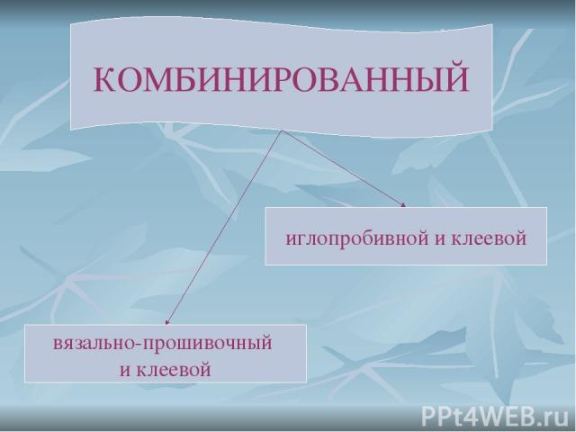 КОМБИНИРОВАННЫЙ вязально-прошивочный и клеевой иглопробивной и клеевой
