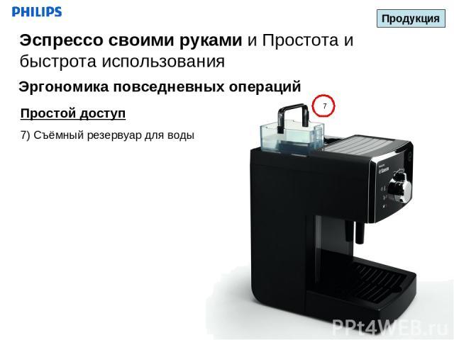 7 Простой доступ 7) Съёмный резервуар для воды Продукция Эспрессо своими руками и Простота и быстрота использования Эргономика повседневных операций Январь 2011