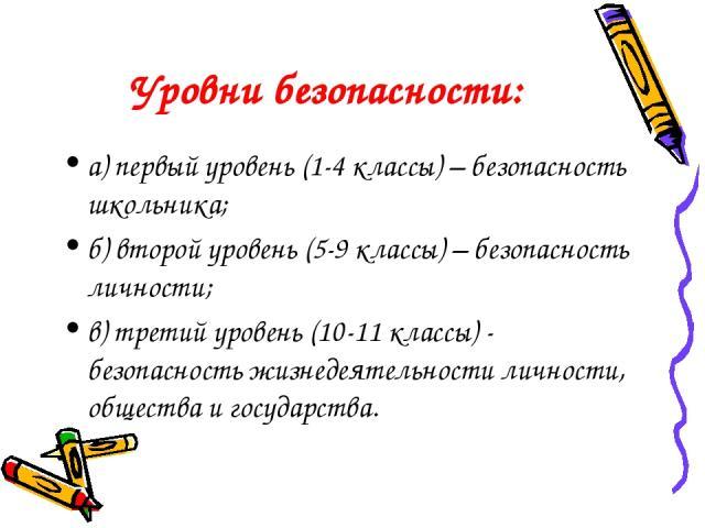 Уровни безопасности: а) первый уровень (1-4 классы) – безопасность школьника; б) второй уровень (5-9 классы) – безопасность личности; в) третий уровень (10-11 классы) - безопасность жизнедеятельности личности, общества и государства.