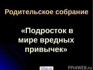 Родительское собрание «Подросток в мире вредных привычек» 900igr.net