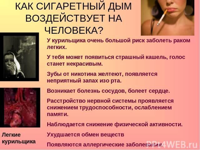 КАК СИГАРЕТНЫЙ ДЫМ ВОЗДЕЙСТВУЕТ НА ЧЕЛОВЕКА? Легкие курильщика У курильщика очень большой риск заболеть раком легких. У тебя может появиться страшный кашель, голос станет некрасивым. Зубы от никотина желтеют, появляется неприятный запах изо рта. Воз…