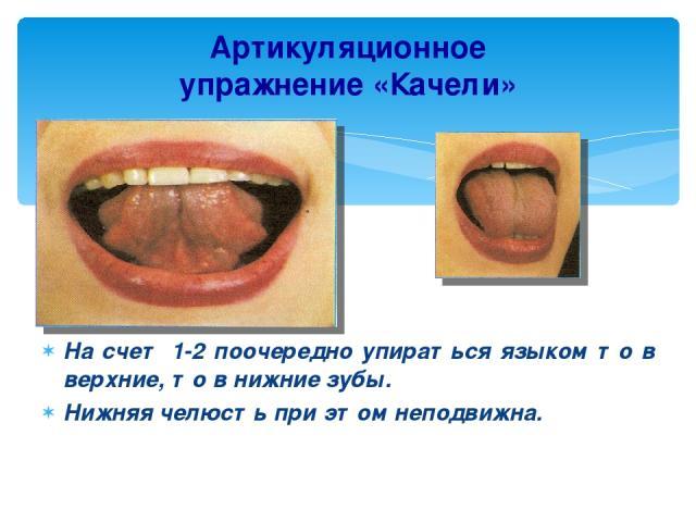 Артикуляционное упражнение «Качели» На счет 1-2 поочередно упираться языком то в верхние, то в нижние зубы. Нижняя челюсть при этом неподвижна.