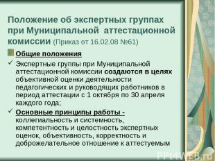 Положение об экспертных группах при Муниципальной аттестационной комиссии (Прика