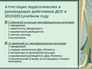 Аттестация педагогических и руководящих работников ДОУ в 2010\2011учебном году 9