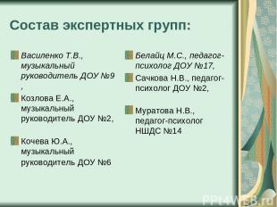 Состав экспертных групп: Василенко Т.В., музыкальный руководитель ДОУ №9 , Козло