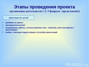 Этапы проведения проекта организация деятельности с 2- 3 февраля (продолжение) р