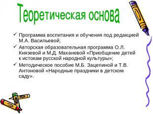 Программа воспитания и обучения под редакцией М.А. Васильевой; Авторская образов