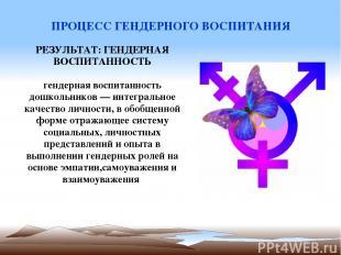 ПРОЦЕСС ГЕНДЕРНОГО ВОСПИТАНИЯ РЕЗУЛЬТАТ: ГЕНДЕРНАЯ ВОСПИТАННОСТЬ гендерная воспи