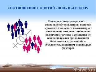СООТНОШЕНИЕ ПОНЯТИЙ «ПОЛ» И «ГЕНДЕР» Понятие «гендер» отражает социально обуслов