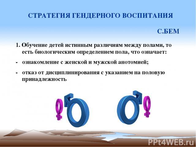 СТРАТЕГИЯ ГЕНДЕРНОГО ВОСПИТАНИЯ С.БЕМ 1. Обучение детей истинным различиям между полами, то есть биологическим определением пола, что означает: - ознакомление с женской и мужской анотомией; - отказ от дисциплинирования с указанием на половую принадл…