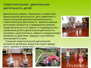 Самостоятельная двигательная деятельность детей Двигательные навыки, полученные