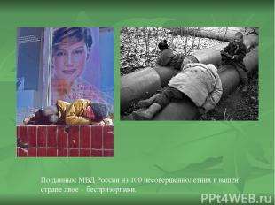 По данным МВД России из 100 несовершеннолетних в нашей стране двое – беспризорни