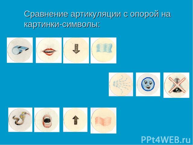 Сравнение артикуляции с опорой на картинки-символы: