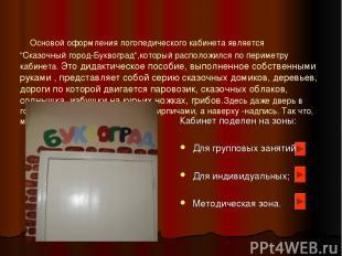 """Основой оформления логопедического кабинета является """"Сказочный город-Буквоград"""""""