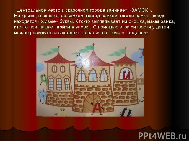 Центральное место в сказочном городе занимает «ЗАМОК». На крыше, в окошке, за замком, перед замком, около замка - везде находятся «живые» буквы. Кто-то выглядывает из окошка, из-за замка, кто-то приглашает войти в замок…С помощью этой хитрости у дет…