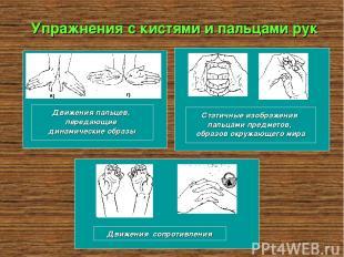 Упражнения с кистями и пальцами рук Движения пальцев, передающие динамические об