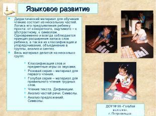 Языковое развитие Дидактический материал для обучения чтению состоит из нескольк