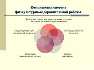 Комплексная система физкультурно-оздоровительной работы