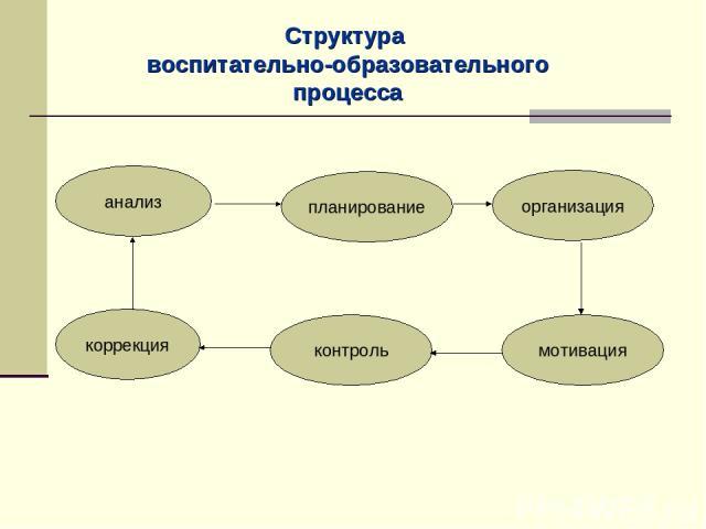 Структура воспитательно-образовательного процесса анализ планирование организация коррекция контроль мотивация