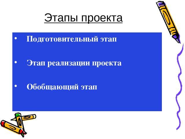 Этапы проекта Подготовительный этап Этап реализации проекта Обобщающий этап