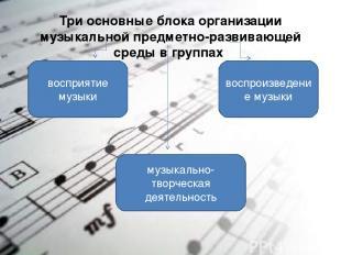 Три основные блока организации музыкальной предметно-развивающей среды в группах