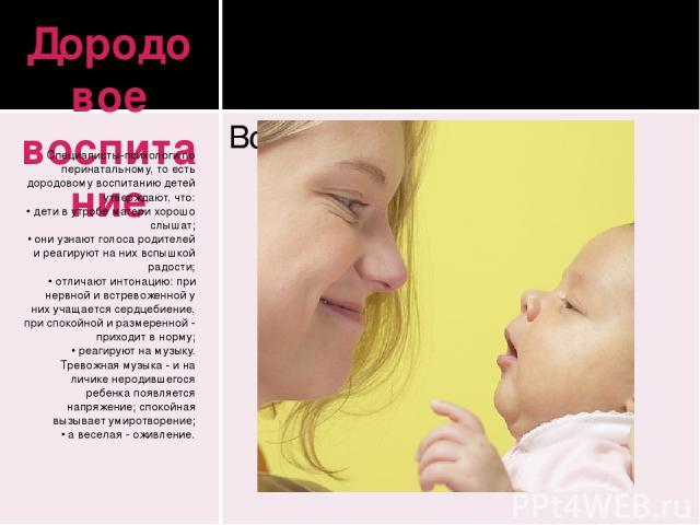 Дородовое воспитание Специалисты-психологи по перинатальному, то есть дородовому воспитанию детей утверждают, что: • дети в утробе матери хорошо слышат; • они узнают голоса родителей и реагируют на них вспышкой радости; • отличают интонацию: при нер…