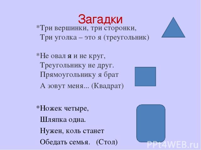 Загадки *Три вершинки, три сторонки, Три уголка – это я (треугольник) *Не овал я и не круг, Треугольнику не друг. Прямоугольнику я брат А зовут меня... (Квадрат) *Ножек четыре, Шляпка одна. Нужен, коль станет Обедать семья.  (Стол)