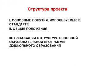Структура проекта I. ОСНОВНЫЕ ПОНЯТИЯ, ИСПОЛЬЗУЕМЫЕ В СТАНДАРТЕ II. ОБЩИЕ ПОЛОЖЕ