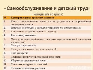 «Самообслуживание и детский труд» (младший возраст) № Критерии оценки трудовых н