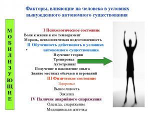 Факторы, влияющие на человека в условиях вынужденного автономного существования