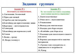 Задания группам Задание № 1 Изготовить из пивной банки 1. Светильник безопасный