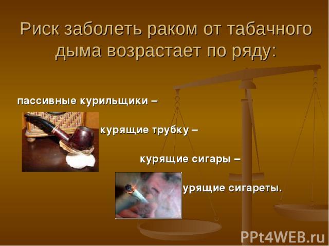 Риск заболеть раком от табачного дыма возрастает по ряду: пассивные курильщики – курящие трубку – курящие сигары – курящие сигареты.