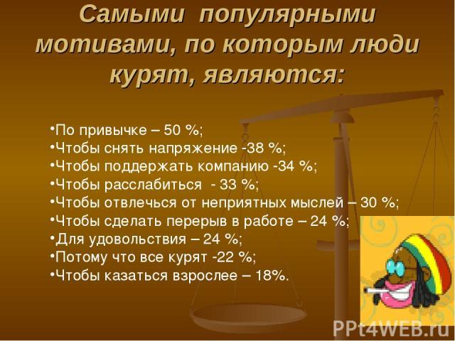 Самыми популярными мотивами, по которым люди курят, являются: По привычке – 50 %; Чтобы снять напряжение -38 %; Чтобы поддержать компанию -34 %; Чтобы расслабиться - 33 %; Чтобы отвлечься от неприятных мыслей – 30 %; Чтобы сделать перерыв в работе –…