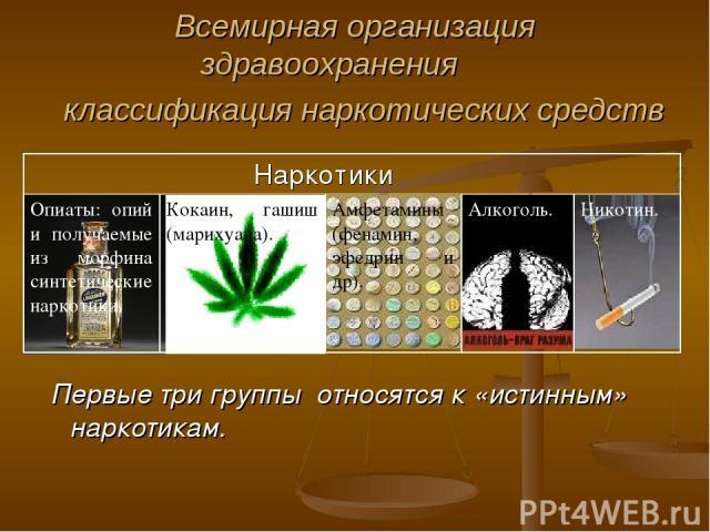 Всемирная организация здравоохранения классификация наркотических средств Первые три группы относятся к «истинным» наркотикам. Наркотики Опиаты: опий и получаемые из морфина синтетические наркотики. Кокаин, гашиш (марихуана). Амфетамины (фенамин, эф…