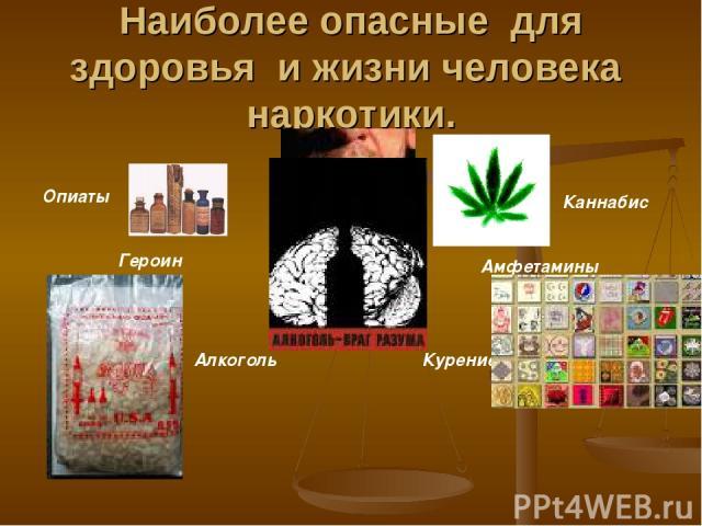 Наиболее опасные для здоровья и жизни человека наркотики. Героин Каннабис Амфетамины Алкоголь Курение Опиаты