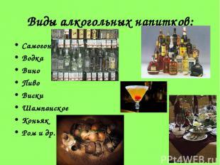 Виды алкогольных напитков: Самогон Водка Вино Пиво Виски Шампанское Коньяк Ром и